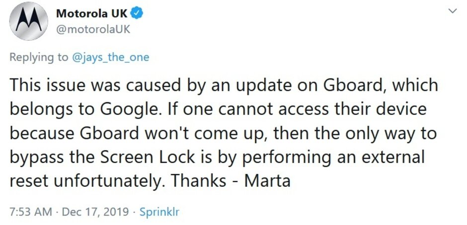 Motorola U.K. throws Google under a bus and suggests that users affected might need to factory reset their phone - Some Android users are locked out of their phones after Gboard crashes