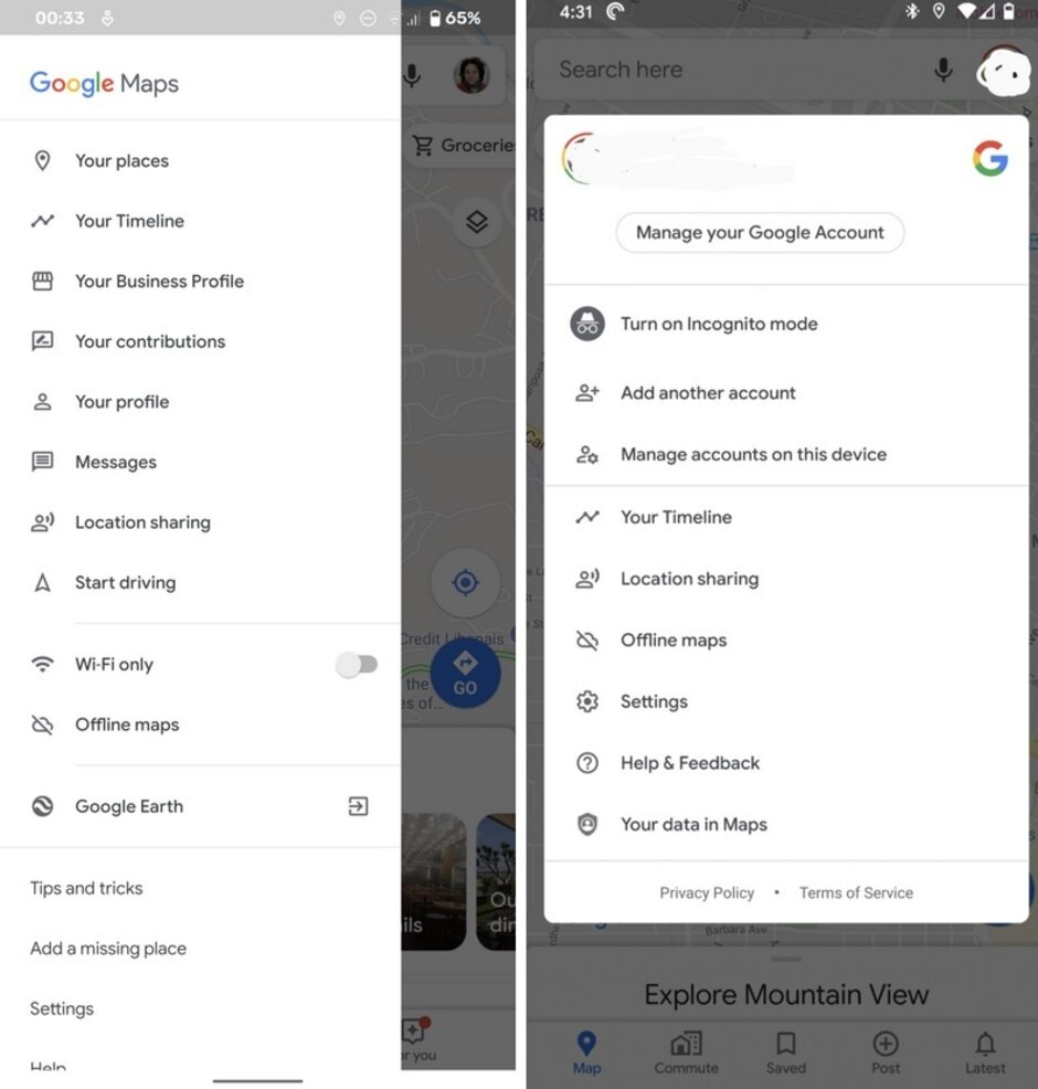 The side menu (L) is now replaced by the box (R) that appears when a user's avatar is tapped; credit Android Police - Update to Google Maps solves issue with gesture navigation