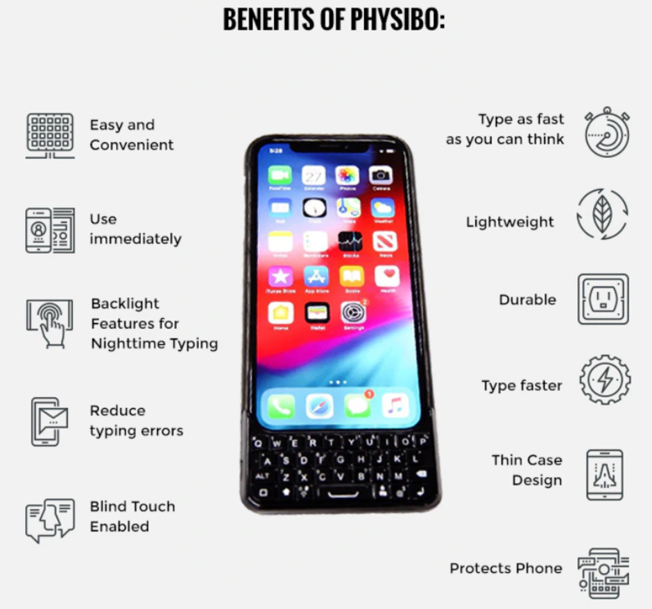 The Physibo is a Bluetooth keyboard case for certain iPhone models - Bluetooth keyboard case for the Apple iPhone needs a holiday miracle to get funded