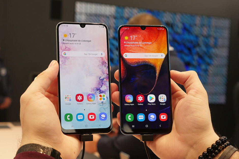 The mid-range Samsung Galaxy A50 (L) and Galaxy A30 (R) - Less than 10% of Americans are spending $1,000 on a new phone