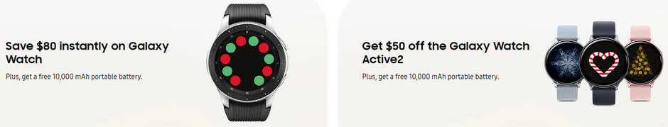 Deal: Discounted Samsung Galaxy Watch and Watch Active 2 come with a free portable battery