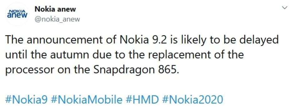 The Nokia 9.2 will reportedly be powered by a Snapdragon 865 Mobile Platform - Nokia's next flagship is delayed for a very good reason